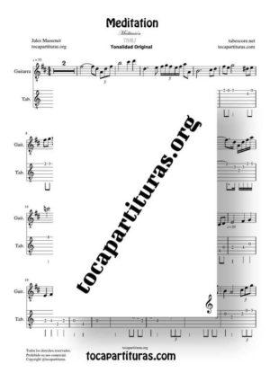 Meditation de Thais Partitura y Tablatura del Punteo de Guitarra (Guitar Tabs)