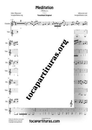 Meditation de Thais Partitura y Tablatura del Punteo de Ukelele (Tabs) Tonalidad Fácil