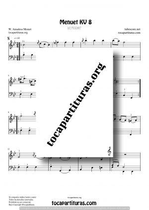 Menuet KV 8 de Mozart Partitura de Piano