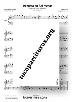 Minueto en Sol Mayor de Bach BWV Anh. 115 Partitura de Piano