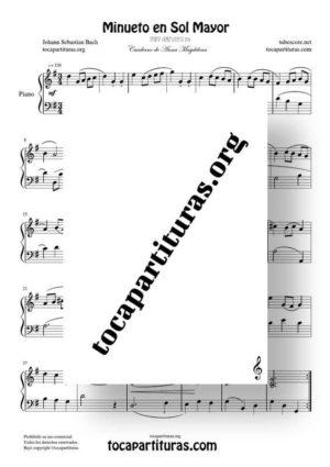 Minueto en Sol Mayor de Bach Partitura de Piano BWV ANH 114