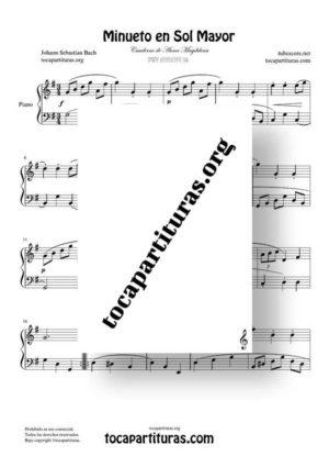 Minueto en Sol Mayor de Bach Partitura de Piano BWV ANH 116