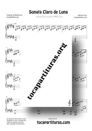 Sonata Claro de Luna de Beethoven Partitura para Piano (Moonlight Sonata)