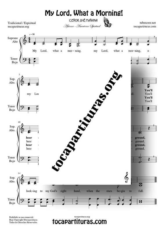 My lord what a morning Partitura PDF MIDI de Coro SATB con letra en Inglés (Soprano, Alto, Tenor, Bajo) African American spiritual