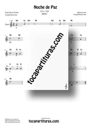 Noche de Paz (Silent Night) Partitura con Notas en letras y acordes