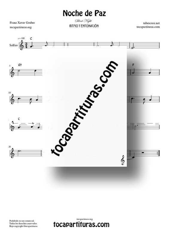 Noche de Paz Partitura PDF MIDI de Solfeo Rítmico y Entonación en Do Mayor (Solfeggio Silent NIght C)