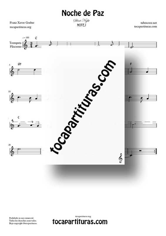 Noche de Paz Partitura PDF MIDI de Trompeta y Fliscorno en Do Mayor (Silent NIght C)
