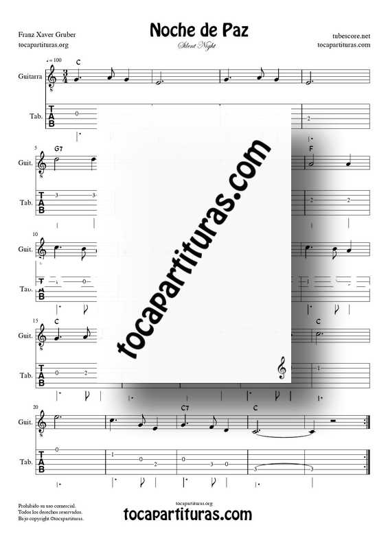 Noche de Paz Partitura y Tablatura PDF MIDI Punteo de Guitarra en Do Mayor (Guitar Tabs Silent NIght C)