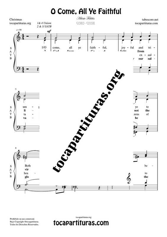 O Come, All Ye Faithful Chorus PDF MIDI Sheet Music for 4 voice SATB CORO Adeste Fideles