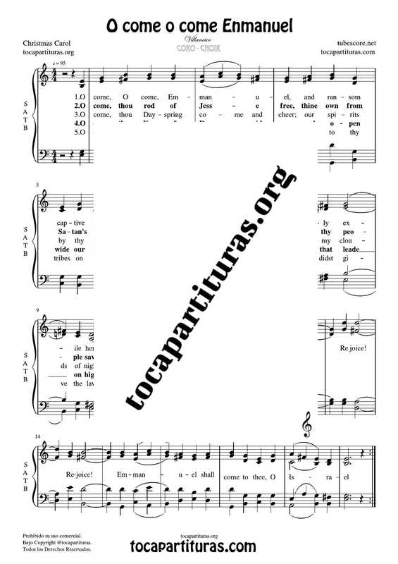 O come o come Enmanuel Chorus PDF MIDI Sheet Music for 4 voice SATB CORO