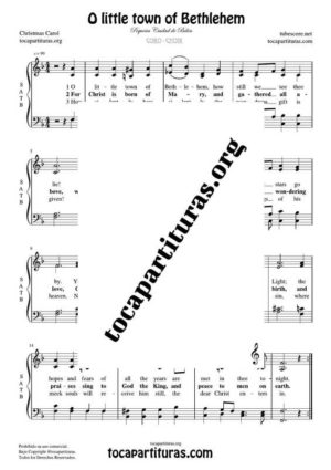 O little town of Bethlehem SATB Sheet Music for Choir with Lyrics (PDF and MIDI) Coro Pequeña Ciudad de Belén