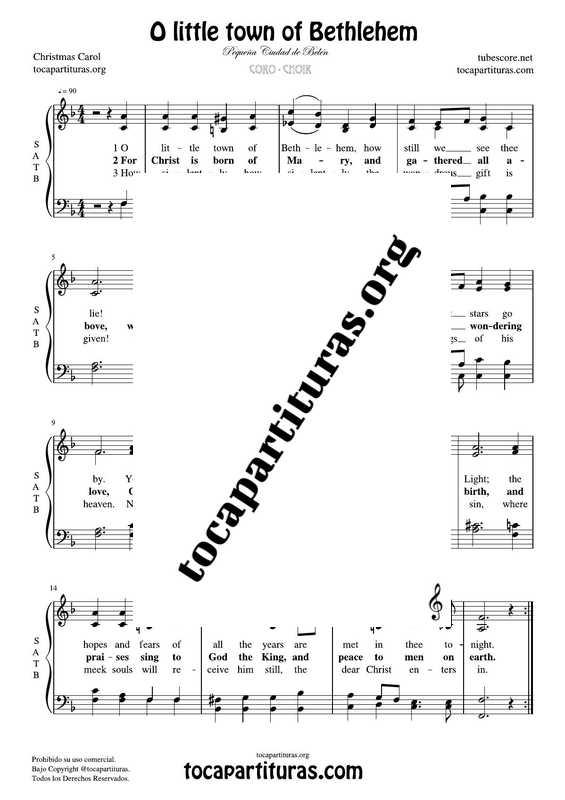 O little town of Bethlehem Chorus PDF MIDI Sheet Music for 4 voices SATB CORO Pequeña ciudad de Belén