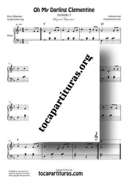 Oh My Darling Clementine PDF MIDI Partitura de Piano Fácil en Fa Mayor