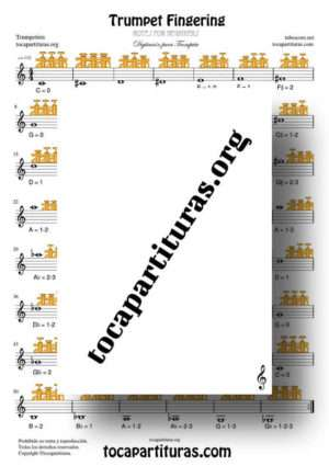 Trumpet Fingering Chart Easy Sheet Music for Notes Trumpetits Beginners