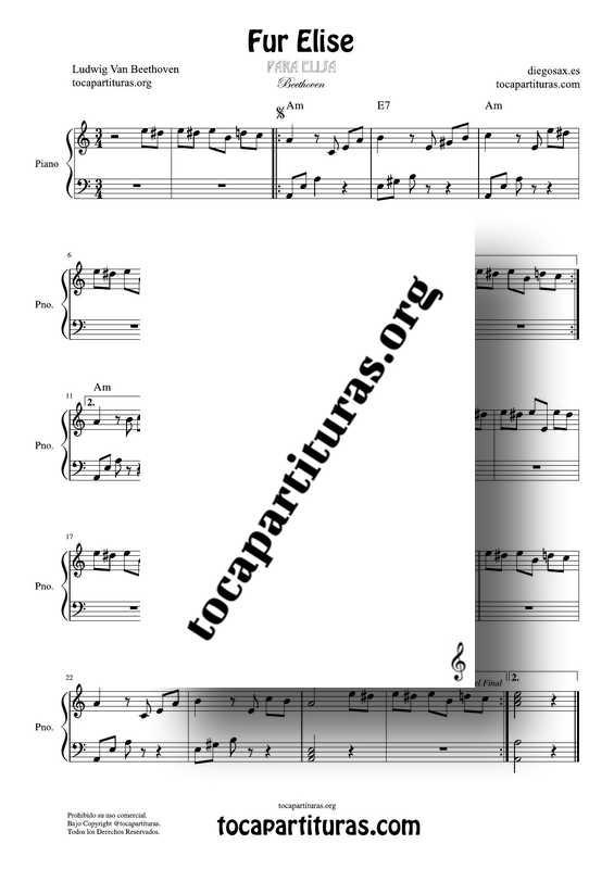 Para Elisa Partitura de Piano en PDF y MIDI Fur Elise