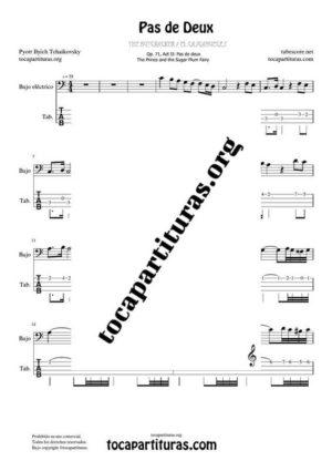 Pas de Deux de Chaikovski PDF y MIDI Partitura y Tablatura del Punteo de Bajo Eléctrico (Electric Bass) en Do Mayor (C) Tonalidad Fácil