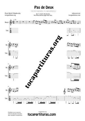 Pas de Deux de Chaikovski PDF y MIDI Partitura y Tablatura del Punteo de Banjo (Guitar Tabs) en Fa Mayor (F) Tonalidad Fácil