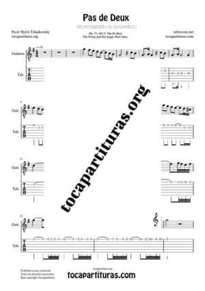 Pas de Deux de Chaikovski PDF y MIDI Partitura y Tablatura en Do Mayor (C) del Punteo de Guitarra (Guitar Tabs) en Sol Mayor Tonalidad Original