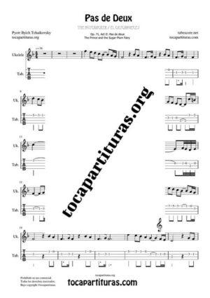 Pas de Deux de Chaikovski PDF y MIDI Partitura y Tablatura del Punteo de Ukelele (Guitar Tabs) en Fa Mayor (F) Tonalidad Fácil