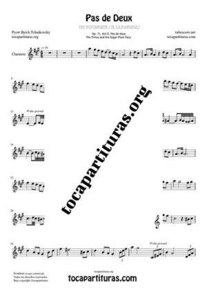 Pas de Deux de Chaikovski Partitura PDF y MIDI de Clarinete (Clarinet) en La Mayor Mayor (A) Tonalidad Original