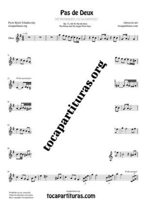 Pas de Deux de Chaikovski Partitura PDF y MIDI de Oboe en Sol Mayor Mayor (G) Tonalidad Original
