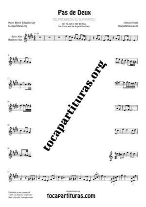Pas de Deux de Chaikovski Partitura PDF y MIDI en Mi Mayor (E) de Saxofón Alto / Saxo Barítono Tonalidad Original