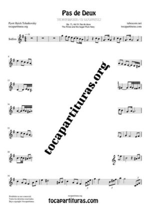 Pas de Deux de Chaikovski Partitura PDF y MIDI de Solfeo (Entonación y Ritmo) en Sol Mayor (G) Tonalidad Original