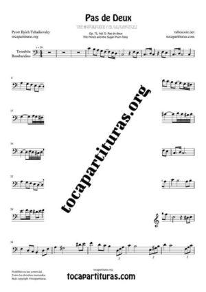 Pas de Deux de Chaikovski Partitura PDF y MIDI de Trombón / Bombardino (Trombone / Euphonium) en Do Mayor (C) Tonalidad Fácil