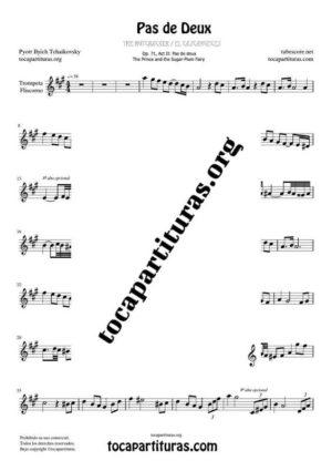 Pas de Deux de Chaikovski Partitura PDF y MIDI de Trompeta / Fliscorno (Trumpet / Flugelhorn) en La Mayor Mayor (A) Tonalidad Original