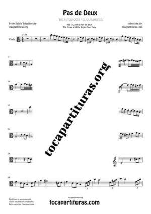 Pas de Deux de Chaikovski Partitura PDF y MIDI de Viola en Do Mayor (C) Tonalidad Fácil
