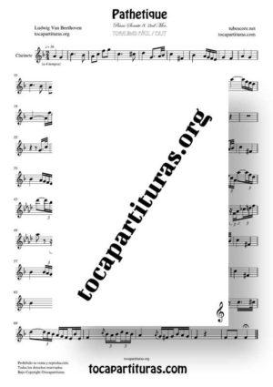 Pathetique de Beethoven Partitura de Clarinete (Tonalidad Fácil)