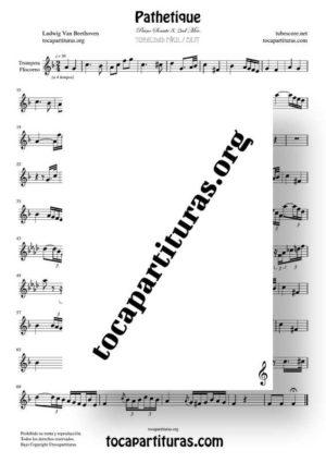 Pathetique de Beethoven Partitura de Trompeta / Fliscorno (Tonalidad Fácil)
