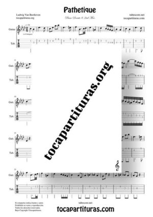 Pathetique de Beethoven Partitura y Tablatura de Guitarra