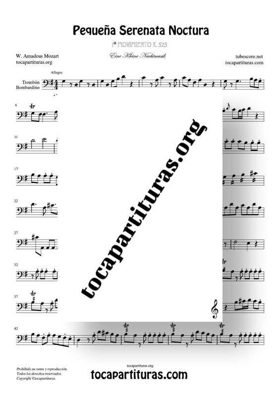 Pequeña Serenata Noctura Partitura de Trombón y Bombardino Completa 1 Mov. Sheet Music for Trombone and Bassoon
