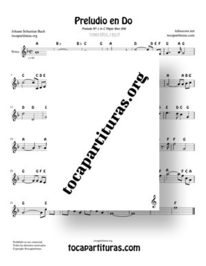 Prelude in C Bwv 846  by Bach Notes Sheet Music for Treble Clef (Violín, Oboe, Flute, Recorder…)