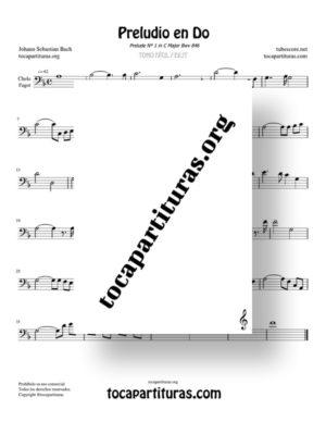 Preludio en Do Bwv 846 de Bach Partitura de Chelo / Fagot