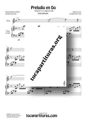 Preludio en Do Bwv 846 de Bach Partitura Dúo Piano (Melodía + Acompañamiento)
