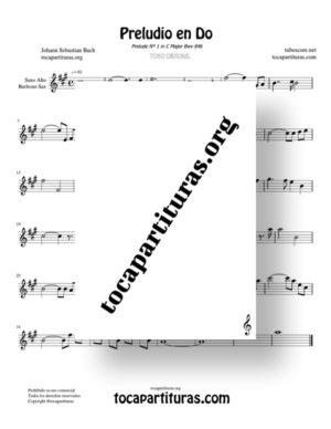 Preludio en Do Bwv 846 de Bach Partitura de Saxofón Alto / Saxo Barítono