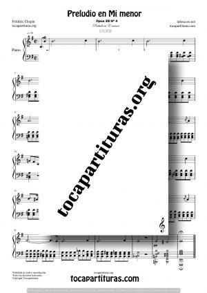 Preludio en Mi menor (E) (opus28 nº4) de Chopin Partitura de Piano