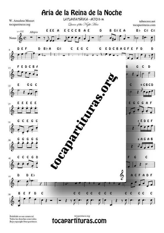 Queen of the Night Aria PDF MIDI (The Magic Flute) Easy Notes Sheet Music for Flute Recorder Violins Oboe... Treble Clef Original Tone A minor