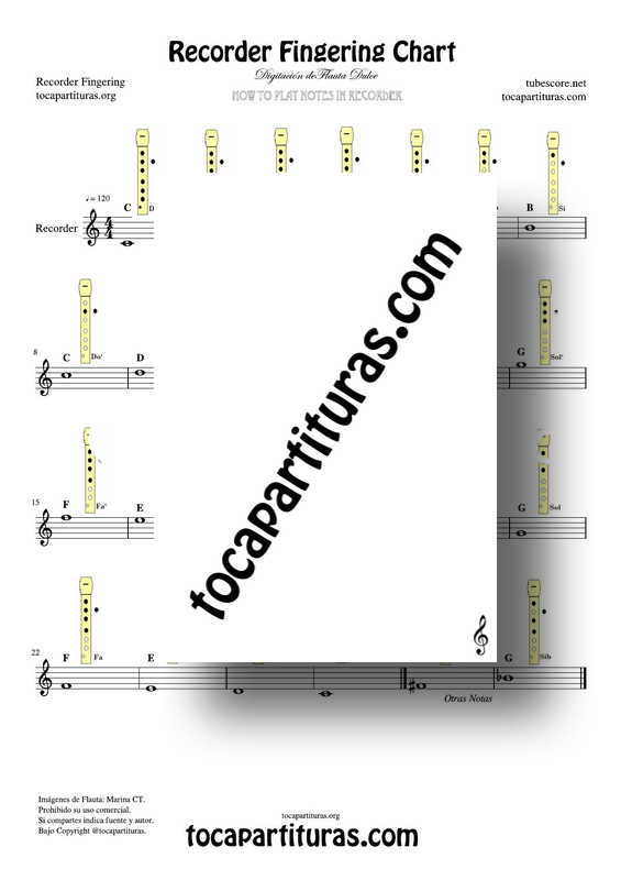 Recorder Fingering Chart Easy Sheet Music for Notes