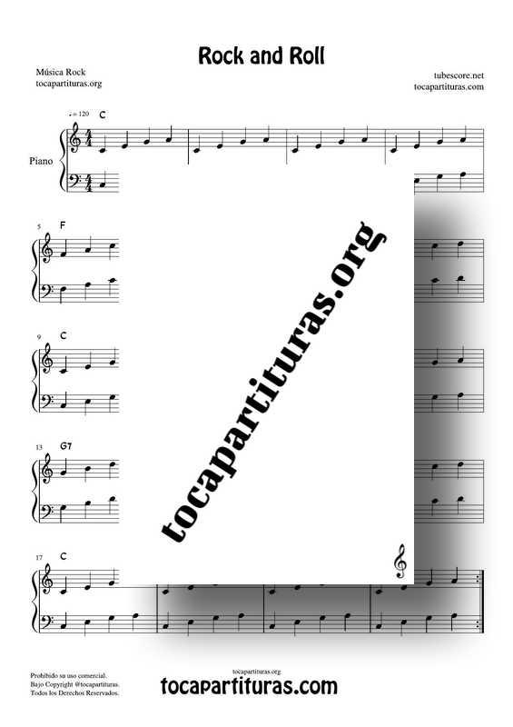 Rock and Roll Partitura PDF y MIDI Muy Fácil de Piano en Do Mayor