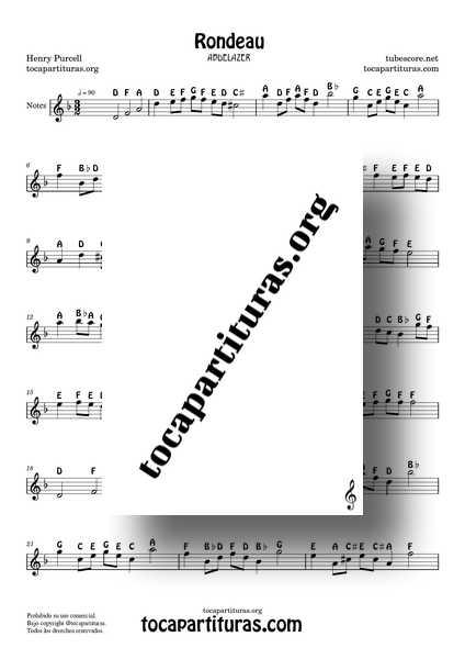 Rondeau Abdelazer Purcell Notes Sheet Music for Flute Violin Oboe PDF MIDI KARAOKE MP3