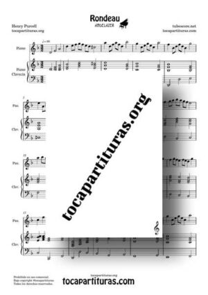Rondeau Abdelazer Partitura de Piano en Mi m Rondó de Purcell