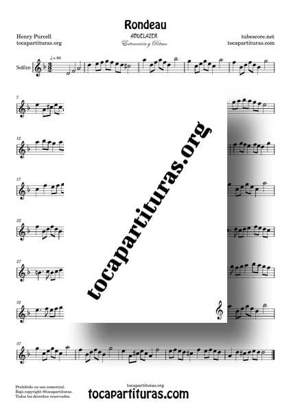 Rondeau Abdelazer Purcell Partitura de Solfeo Ritmo y Entonación en Rem