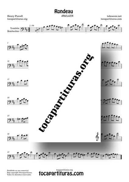 Rondeau Abdelazer Purcell Partitura de Trombón y Bombardino en Sim