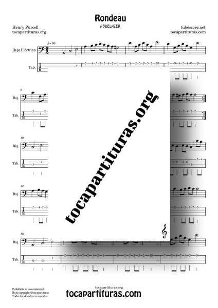 Rondeau Abdelazer Purcell Partitura y Tablatura de Bajo en Lam