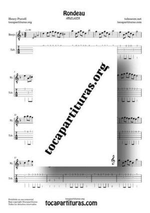 Rondeau Abdelazer Partitura y Tablatura de Banjo en Re m Rondó de Purcell