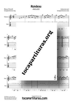 Rondeau Abdelazer Partitura y Tablatura de Guitarra en Re m Rondó de Purcell