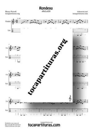 Rondeau Abdelazer Partitura y Tablatura de Ukelele en Re m Rondó de Purcell